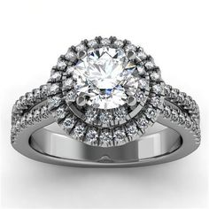 Round Diamond Double Row Halo Engagement Ring in 18k White Gold