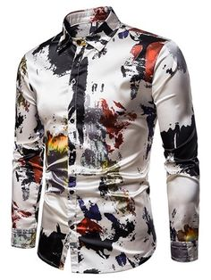Ericdress Print Colorful Button Up Single-Breasted Mens Casual Shirt - Moda daily Cool Shirts For Men, Casual Shirts For Men, Men Casual, Stylish Men, Fashion Casual, Mens Fashion, Fashion Site, Cheap Fashion, Latest Fashion