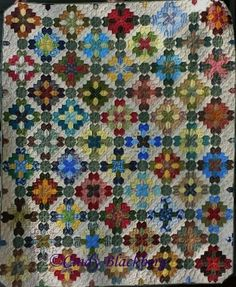 """Beautiful """"Lucy Boston"""" quilt made by Terri W. with the pointed tile stamp available at www.cindyblackberg.com"""