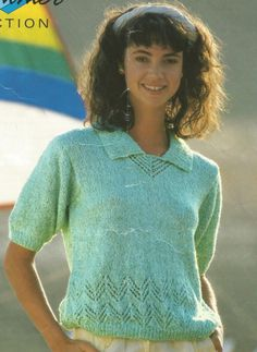 1c1cafd4e897e1 Items similar to Knitting Pattern Girls  Ladies Spring   Summer Top short  sleeved with collar in DK   Worsted  8 ply size 30-40in 76-122cm on Etsy