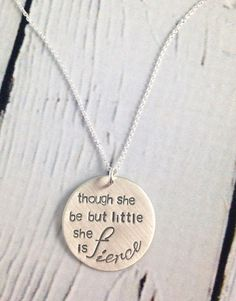 Handstamped She is Fierce Necklace made by jewelry artist, Sara Leathers, for her exclusive line of jewelry at Silver in the City; Necklace measures long with lobster clasp closure. Charm measures x Necklaces are handstamped so Silver In The City, She Is Fierce, Hand Stamped Jewelry, Inspirational Gifts, Lobster Clasp, Twine, Mother Day Gifts, Dog Tag Necklace, Jewelry Making