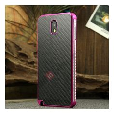 Aluminium Metal Bumper and Carbon fiber Protective back Case For Samsung Galaxy Note 3 N9000 - Rose red/Black US$25.99