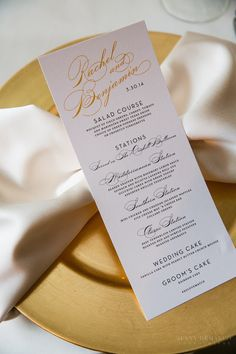 White and Gold Luxe Texas Wedding from Jenny DeMarco - wedding menu card idea