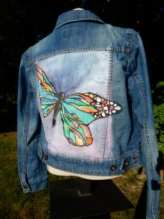 Hand painted womens jean jacket by standoutdesigns on etsy handcrafted embroidered custom denim jean jacket etsy Painted Denim Jacket, Painted Jeans, Painted Clothes, Hand Painted, Jean Jacket Outfits, Blue Jean Jacket, Jean Jacket Design, Embellished Jeans, Recycled Denim