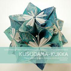 Kusudama on näyttävä, mutta yksinkertaiseen taiteluun perustuva origami-kukka, josta saa persoonallisen koristeen kuvioimalla käytettävät paperi Gelli Platen avulla. Vinkki! Käytä kukan kokoamiseen Power Pritt liimapuikkoa. #askartelu #paperiaskartelu #craft #papercraft #koristeideat #diy