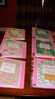 Pink binders with Lilly covers: I recognize these! Such a great idea that I've adopted from @Hannah Holliday (The Pink and Green Prep)!  It's made school so much more fun this year!