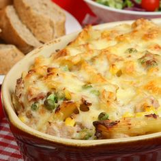 This tuna pasta bake recipe is tasty and very easy to assemble. It uses sour cream and mayonnaise in the mixture rather than canned soup as its creamy base.. Tuna Pasta Bake Recipe from Grandmothers Kitchen.