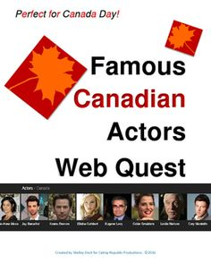 Teacher Time Saver!  Simply purchase, print and hand out this handy web quest for Arts Education!  Features 26 amazing Canadian actors and includes an answer key.  Takes approximately one class to complete.   Great for substitute teachers planning. I use it as an activity prior to assigning the Canadian Actor Research & Presentation Project (grade 5 - 12).