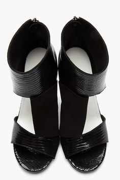 6e435386f04de MAISON MARTIN MARGIELA Black Folded Suede   Croc-Embossed Leather Cut-Out  Heels. Roslina Hassan · Shoes   Soles