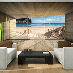 Photo Wallpaper GIANT NATURE BEACH WINDOW EFFECT Wall Mural (3308VE)