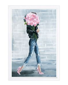 The Stupell Home Decor Grey Fashion Bookstack with Pink Flowers in Blue and White Vase Stretched Canvas Wall Art Multi-Color 24 x 30