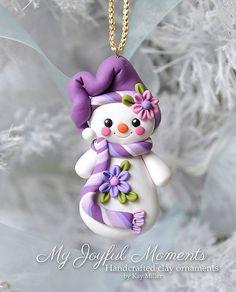 Handgefertigte Polymer Clay Schneemann Ornament von MyJoyfulMoments