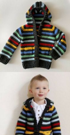 Free Crochet Pattern - Colorful Stripes Sweater While I shopped at Baby Gap the other day, I saw the cutest striped baby sweater and knew right away… Crochet Dress Girl, Crochet Baby Clothes, Crochet Jacket, Crochet Cardigan, Crochet Baby Sweaters, Knitting Sweaters, Boys Sweaters, Baby Boy Knitting Patterns, Knitting For Kids
