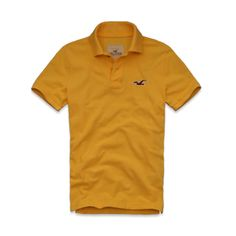 Pacific Polo HOLLISTER, taille M - jaune / yellow (mais aussi vert / green, orange / orange, fuchsia / dark pink, bordeaux / red, blanc / white, gris / heather grey)