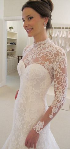 Wanda Borges Bridal Collection - So much more elegant and sexy with the lace bodice and sleeves. This would work well for a wedding up north.