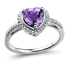 Promise Rings Simple   Amethyst Ring in Rhodium Plated Sterling Silver -- Click image for more details. Note:It is Affiliate Link to Amazon.