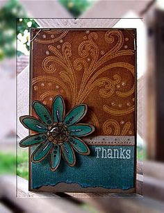 handmade card ... look of leather with denim ... good color combo ... luv colors and the design that make the top section look like well-worn tooled leather ...