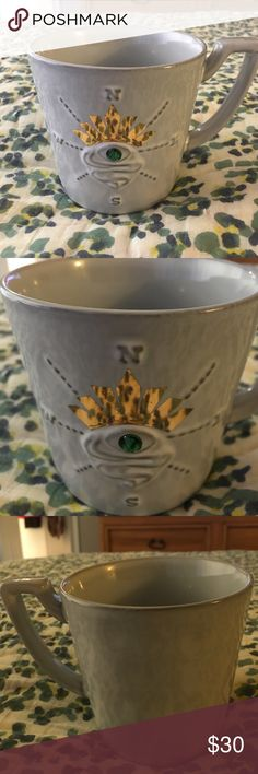 🌸Jeweled Starbucks Mug From 2014 Christmas🌸 I'm letting go of 1 of 2 of these beauties, just because I have so many Starbucks mugs. But this is a rare on adorned with a green jewel in the middle. No box as this one is not brand new, but gently used and hand washed. Starbucks Accessories
