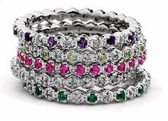 Stackable Mothers Rings- Birthstones & Tiny Diamonds. One for each child with their birth stone and their spouse's