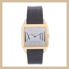Stand out with this one-of-a-kind 18K rose gold #Cartier Santos Dumont #ladieswatch featuring an extremely rare beige dial and a black alligator strap.