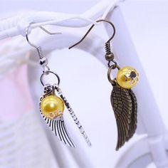 Harry Potter Golden Sniper Wings Alloy Earrings