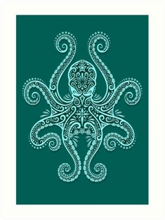 Intricate Teal Blue Octopus Art Print by Jeff Bartels - X-Small Octopus Tattoo Design, Octopus Tattoos, Octopus Print, Octopus Octopus, Mimic Octopus, Octopus Legs, Jellyfish Tattoo, Maori Tattoos, Neue Tattoos