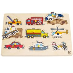 Our Hape Emergency Vehicles Peg Puzzle features 9 pegged pieces that fit into a cut-out board. Great for learning about animals of the wild as well as small motor skills. Puzzles For Toddlers, Toddler Activities, Games For Kids, Wooden Pegs, Wooden Puzzles, Wooden Jigsaw, Baby Ride On, Goat Toys, Hape Toys