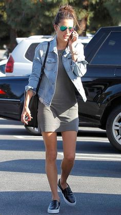 simple grey dress, a denim jacket and leather slip ons