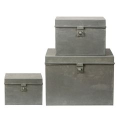 large zinc boxes from Bloomingville.  www.bloomingville.com