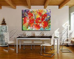 I also do commissions, so if you like something but want different colors/sizes, let me know. Original Ready to HangAbstract Painting, Floral Art, Red Flowers, Large Painti... #originalart #abstract #print #artforsale #trending
