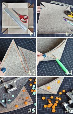 luzia pimpinell BLOG tutorial: geknöpfte schalen aus filz als weihnachtsgeschenk/ buttoned felt bowls as christmas gifts