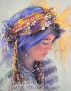 Africa: Imilchil Berber, Morocco by Claude Texier Soft Pastel Art, Pastel Artwork, Pastel Drawing, Portraits Pastel, Watercolor Portraits, Watercolor Paintings, Illustrations Pastel, L'art Du Portrait, Moroccan Art