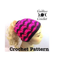 Ponytail Hat Crochet Pattern Spiked Punch Crochet Beanie Pattern - Boho Hippie Festival Instant Download PDF