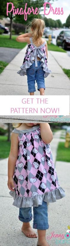 Girls pinafore dress sewing pattern (affiliate link) | dress patterns for girls