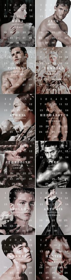 Greek Mythology + Calendars