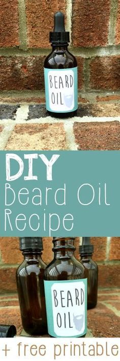 Natural DIY beard oil recipe, made with essential oils. Perfect homemade gift idea for men for Christmas, birthdays, or just because. Includes a free label printable download!