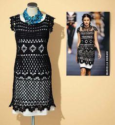 Schwarzes Kleid selber häkeln copyright: Laufstegfoto: Martin Veit, Still: Volker Lammers