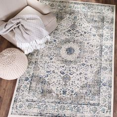 Safavieh Evoke Grey/ Ivory Vintage Area Rug (8' x 10') | Overstock.com Shopping - The Best Deals on 7x9 - 10x14 Rugs