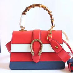 efe6c9d469b Dionysus Leather Top Handle Bag Red White Blue 448075
