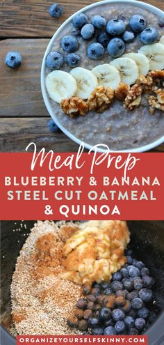This blueberry & banana steel cut oatmeal recipe is healthy full of protein & an easy make ahead & even freezer friendly breakfast! Its also easy to make & hassle free! Click through for the full recipe! Organize Yourself Skinny Healthy Oatmeal Recipes, Healthy Freezer Meals, Healthy Family Meals, Healthy Breakfast Recipes, Healthy Foods To Eat, Easy Meals, Healthy Breakfasts, Skinny Recipes, Slow Cooker Breakfast