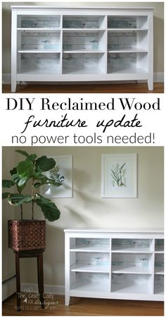 How to update inexpensive furniture with the look of reclaimed wood - no sawing, sanding, or power tools involved! This is such and easy DIY project that comes together in under an hour.