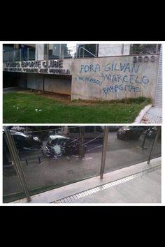 Muro da sede do Cruzeiro é pichado com protestos contra Marcelo e Gilvan #globoesporte