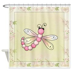 Cherry Blossom Dragonfly Pink Shower Curtain on CafePress.com