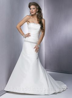 A Line Strapless Embroidering Neckline Waist Wedding Dresses