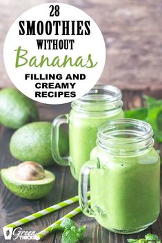 28 Smoothies Without Bananas (filling And Creamy Recipes). Despite popular belief you don't need bananas to make a smoothie rich and creamy. Here are 28 great filling smoothies without bananas recipes. Smoothie Bowl Vegan, Smoothies Detox, Green Detox Smoothie, Healthy Green Smoothies, Apple Smoothies, Green Smoothie Recipes, Weight Loss Smoothies, Healthy Drinks, Making Smoothies