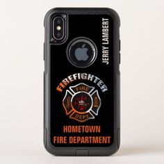Chrome Firefighter Name Template OtterBox Commuter iPhone X Case firefighter nursery, firefighter diy decor, wedding firefighter #militarygift #firegirlfriend #likebunkergear, back to school, aesthetic wallpaper, y2k fashion