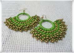 Green Handmade Crochet Dangle Earring Size - Earring made with - brass bead wax cord - hook Payment Accept Dabit Cards and Credit cards through PAYPAL Payment within days Shipping