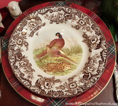 Thanksgiving Table Setting With Spode Woodland and Whimsical Turkey Centerpiece & Queens by Churchill Thanksgiving Dinnerware from Tuesday Morning ...