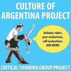 $ Fantastic collaborative project on the culture of Argentina. Rubrics, self- and peer-evaluations, and more included!