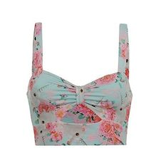 Iron Fist Womens Ladies Bralette Floral Motif Printed Casual... ($19) ❤ liked on Polyvore featuring tops, floral top, white sleeveless top, sleeveless tank, white floral tank top and white floral top